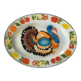 Vintage 1950's Enamelware/Graniteware Colorful Turkey Platter For Sale