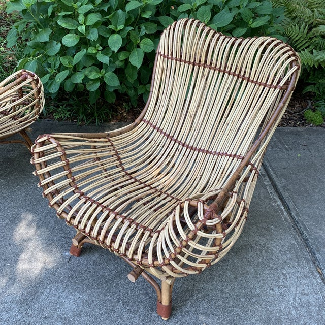 Modern Franco Albini Style Rattan Armchairs- A Pair For Sale In Atlanta - Image 6 of 10