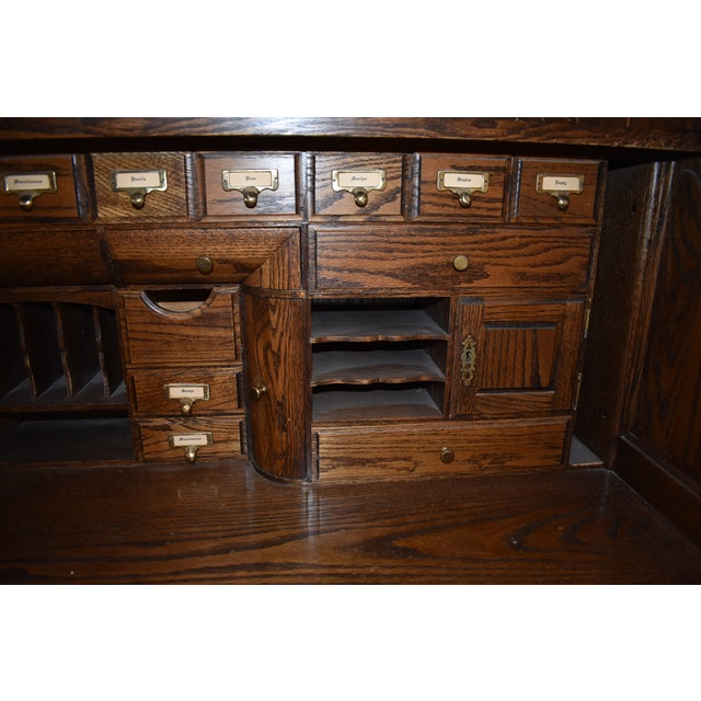 Wood Traditional Oak Crest Manufacturing Rolltop Desk For Sale - Image 7 of 10