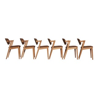 Set of Six Model 42 Oak Dining Chairs by Kai Kristiansen, Denmark, 1960s For Sale