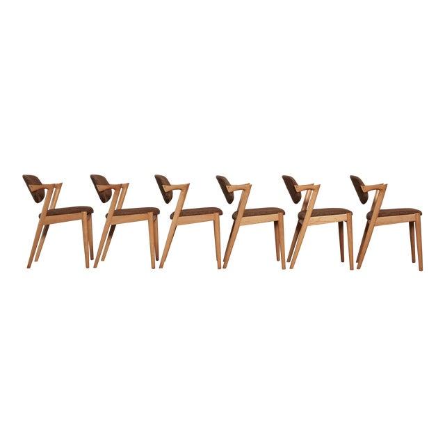 Set of Six Model 42 Oak Dining Chairs by Kai Kristiansen, Denmark, 1960s For Sale