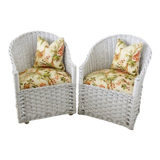 Wicker Indoor/Outdoor Barrel Chairs W/ Chinoiserie Fabric & Pillows - Pair For Sale