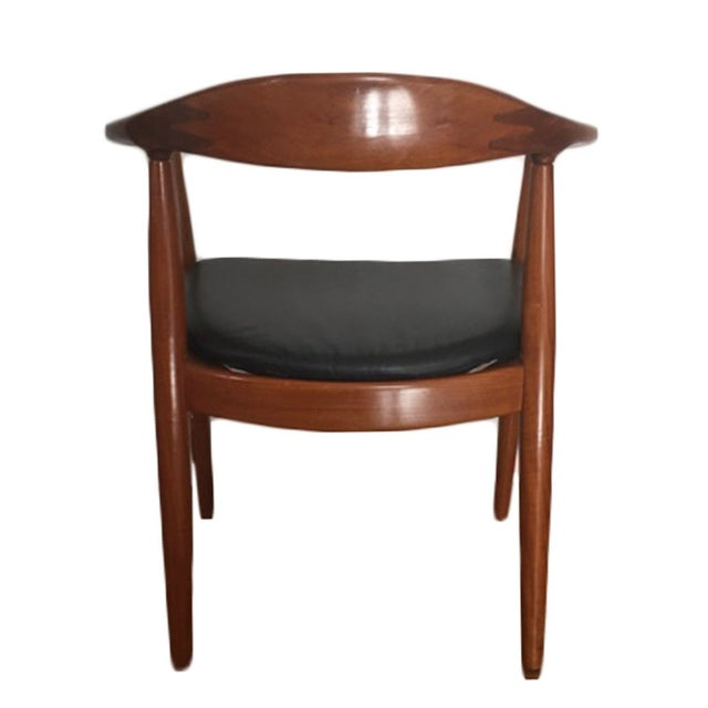 Hans Wegner Style Teak & Leather Chairs - Set of 4 - Image 3 of 5