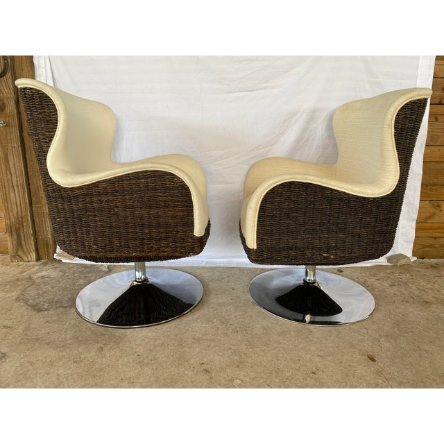 Palecek Metro Swivel Wing Seagrass and Chrome Chairs - a Pair For Sale - Image 13 of 13