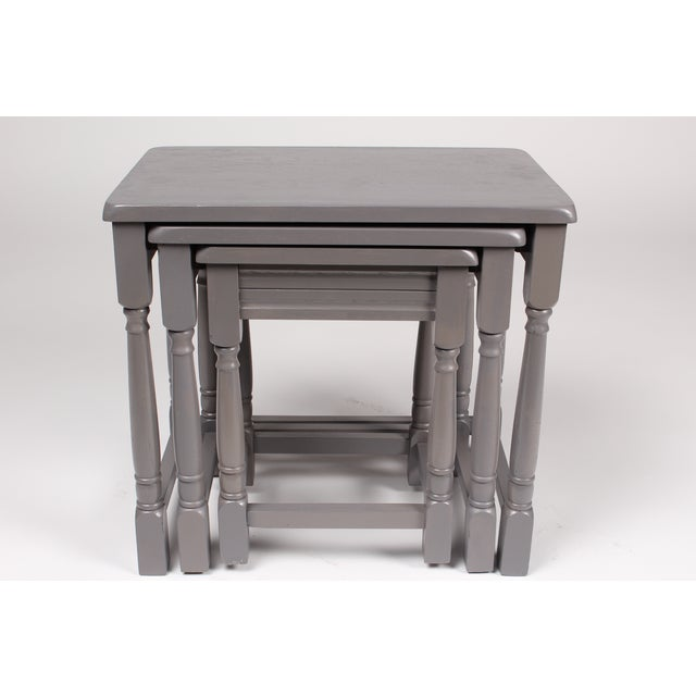 Jacobean-Style Gray Nesting Tables - Set of 3 - Image 4 of 6
