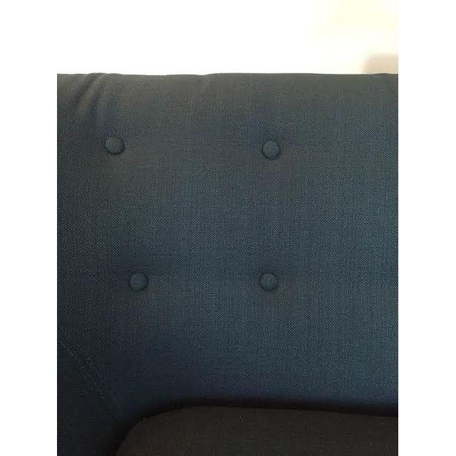 Mid-Century-Style Polyester Blue Armchair - Image 5 of 5