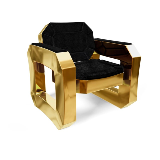 Black Facet Lounge Chair by Artist Troy Smith - Contemporary Design - Handmade Furniture For Sale - Image 8 of 8