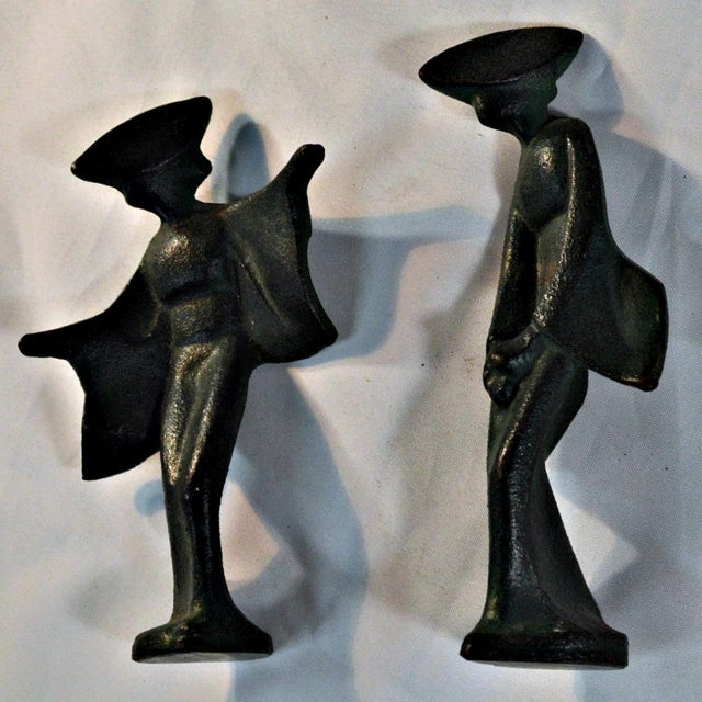 Mid-Century Cast Iron Geisha Figures - A Pair For Sale - Image 4 of 11