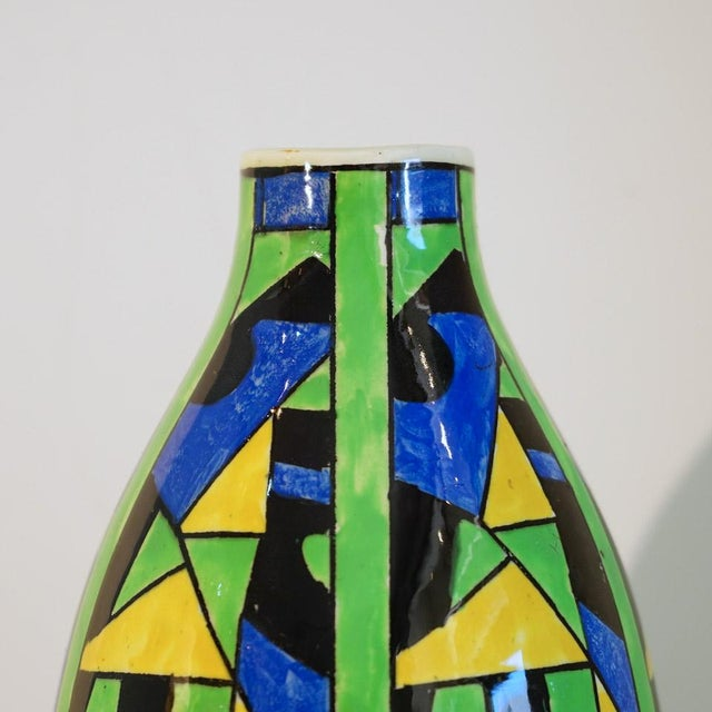 Art Deco 1920s Green Blue & Yellow Abstract Geometric Charles Catteau Vase For Sale - Image 3 of 7
