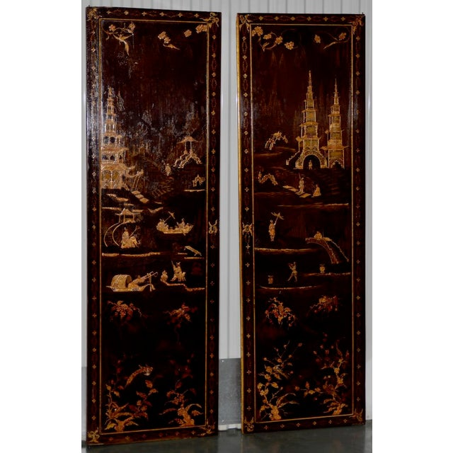 18th to 19th Century Chinese Hand Painted Door Panels - a Pair For Sale - Image 12 of 12