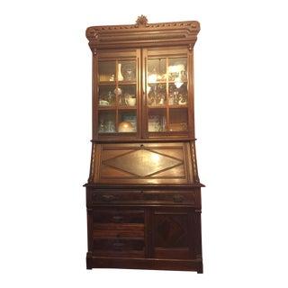 Antique Wood China Cabinet/Secretary Desk