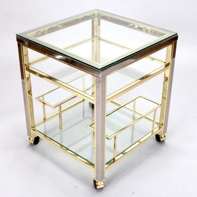 Mid-Century Modern Mid Century Brass and Glass Trolley Table For Sale - Image 3 of 4