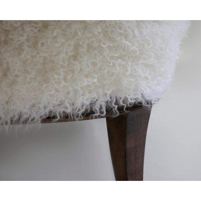Shearling Covered Shaped Back Chair With Wood Base and Legs With Metal Cap Feet For Sale - Image 4 of 11