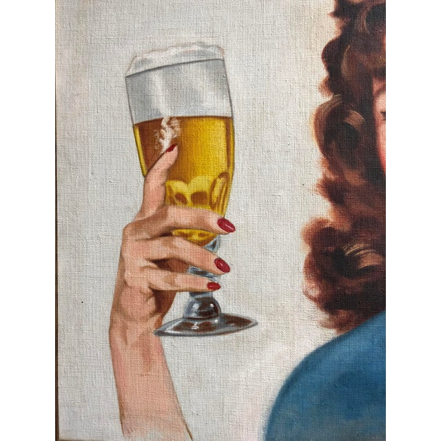 Canvas Mid Century Illustrator Oil/Canvas of a Woman With Beer For Sale - Image 7 of 8