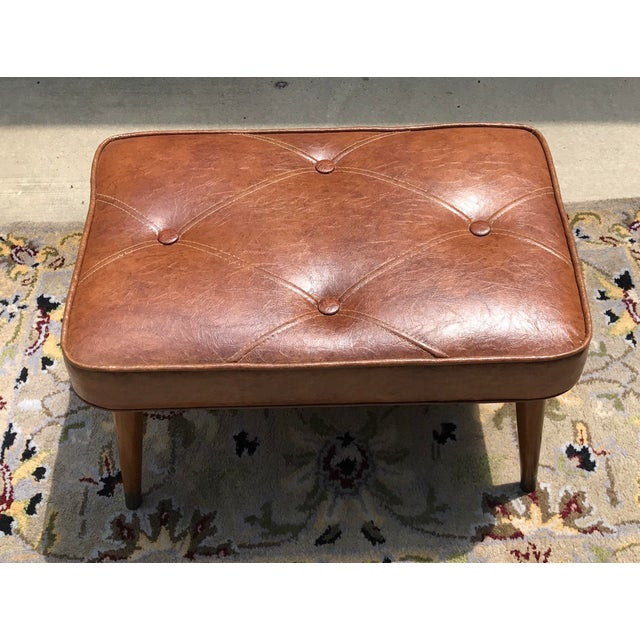 Mid-Century Brown Naugahyde Hassock Footstool - Image 2 of 11