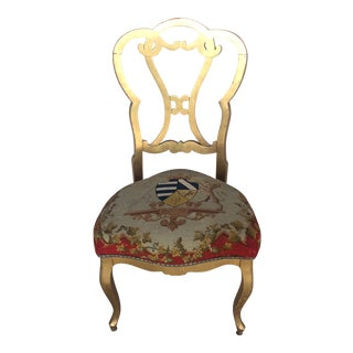 Antique French Gold Needlepoint Chair