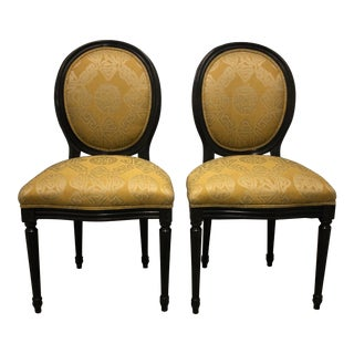 1960s Vintage Trouvailles Inc. Yellow Upholstered Wooden Chairs- Set 2 For Sale