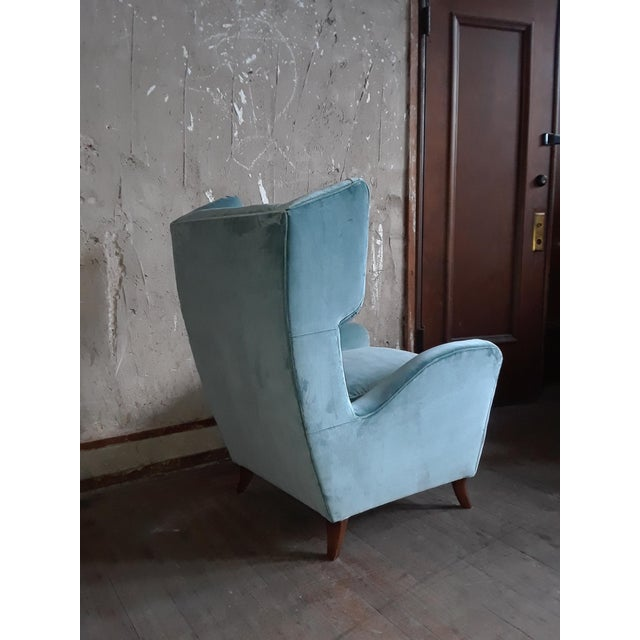 1960s 1960s Teal Velvet Wingback Chairs - a Pair For Sale - Image 5 of 7