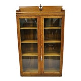 Image of 1900s Victorian Oak Glass 2 Door Bookcase China Cabinet Display For Sale