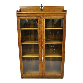 1900s Victorian Oak Glass 2 Door Bookcase China Cabinet Display For Sale