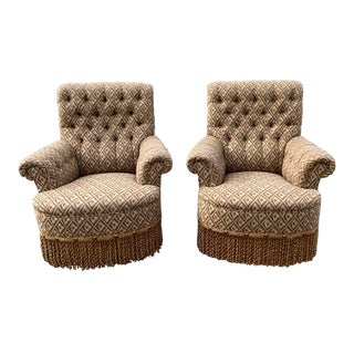 George Smith Button Back Scroll Arm Chairs - a Pair For Sale