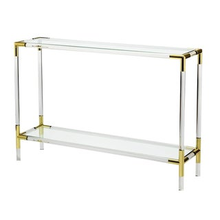 Interlude Home Campaign Lucite & Brass Console For Sale