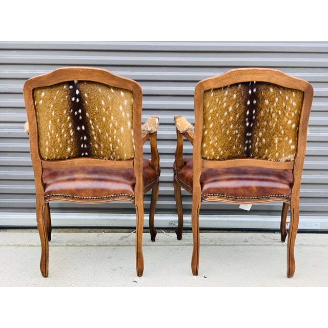 Animal Skin Modern Axis Deer Arm Chairs- a Pair For Sale - Image 7 of 13