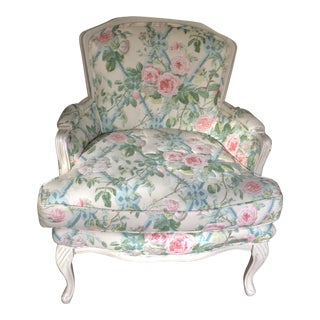 French Country Boudoir Chair Rose Quilted Chintz For Sale