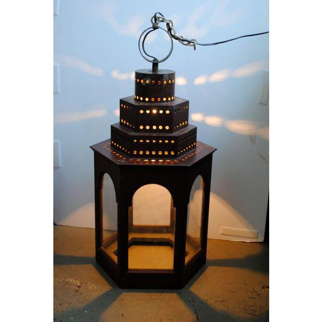 Red Wooden Lanterns - A Pair For Sale - Image 10 of 11