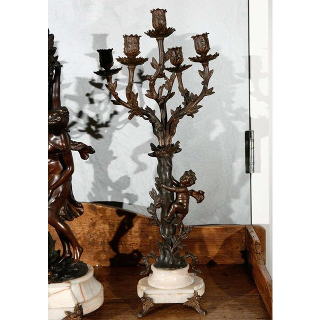 Large Antique French Clock Set with Pair of Candelabra For Sale - Image 4 of 8