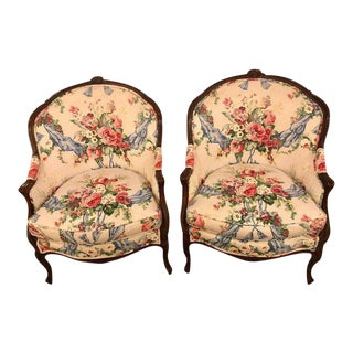 Floral Upholstery Bergère Chairs - A Pair For Sale