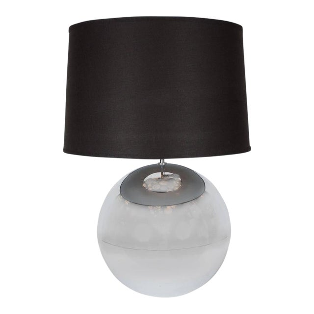 "Mid-Century ""Ball"" Table Lamp in Chrome in the Style of Karl Springer For Sale"