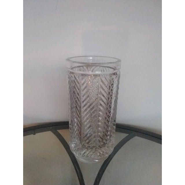 """1990s Vintage Ralph Lauren """"Herringbone"""" Crystal Vase For Sale - Image 5 of 5"""