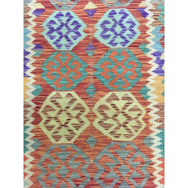"""Hand Knotted Traditional Design Uzbek Wool Kilim. 4'11"""" X 6'5"""" For Sale - Image 4 of 7"""