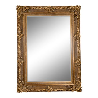 Giltwood Beveled Hanging Floor Length Wall Mirror For Sale