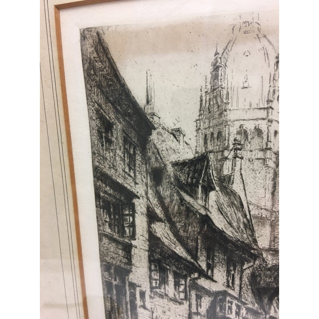 Etching European City Street by Cathedral Etching For Sale - Image 7 of 8