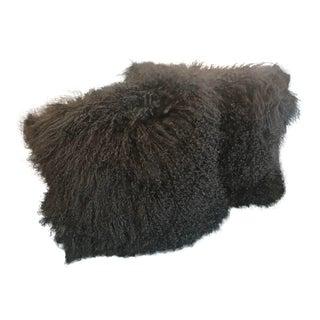 Boho Chic Black Tibetan Lambswool and Velvet Pillows - a Pair