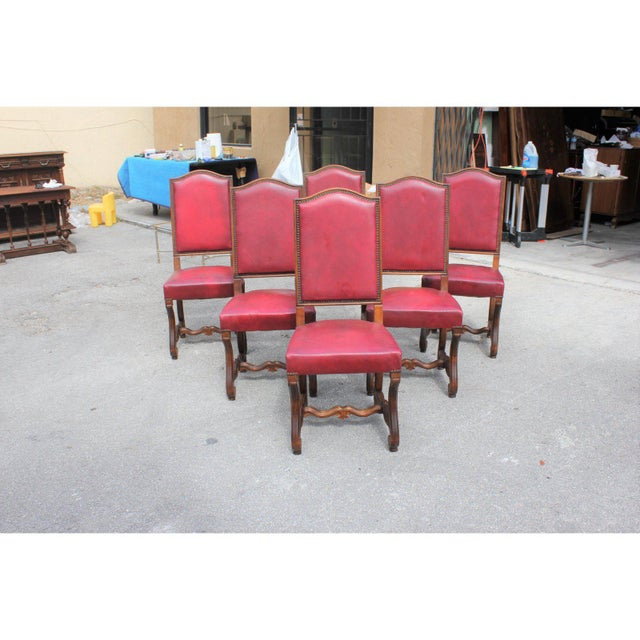 French Louis XIII Style Os De Mouton Red Leather Dining Chairs - Set of 6 For Sale - Image 4 of 13