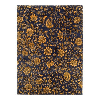 Deep Navy Blue and Gold Traditional Floral Rug- 5′ × 7′ For Sale