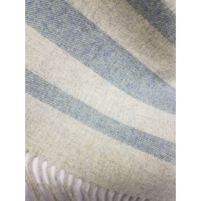 Merino Wool Throw Light Green With Darker Green Stripes - Made in England For Sale In Dallas - Image 6 of 8