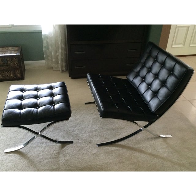 Leather Barcelona Chair & Ottoman by Alivar - Image 4 of 7