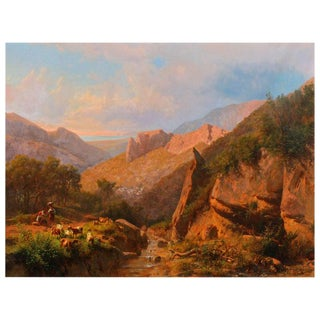 Large Italian Mountain Landscape Painting by Andreas Marko For Sale