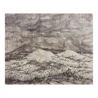 Simon Michael Evening Landscape Drawing For Sale