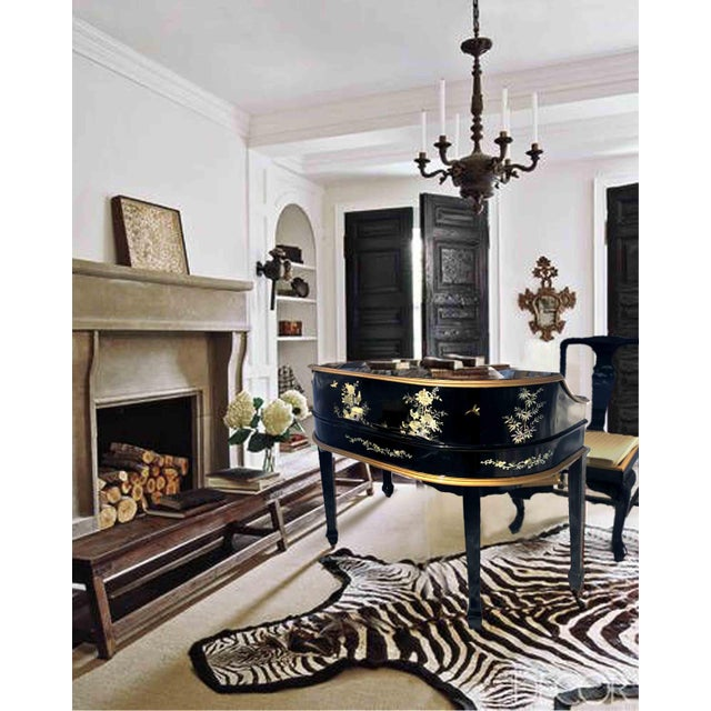 "An outstanding Chinoiserie decorated Carlton House desk and matching chair set. The wooden ""D"" shaped desk has curved..."