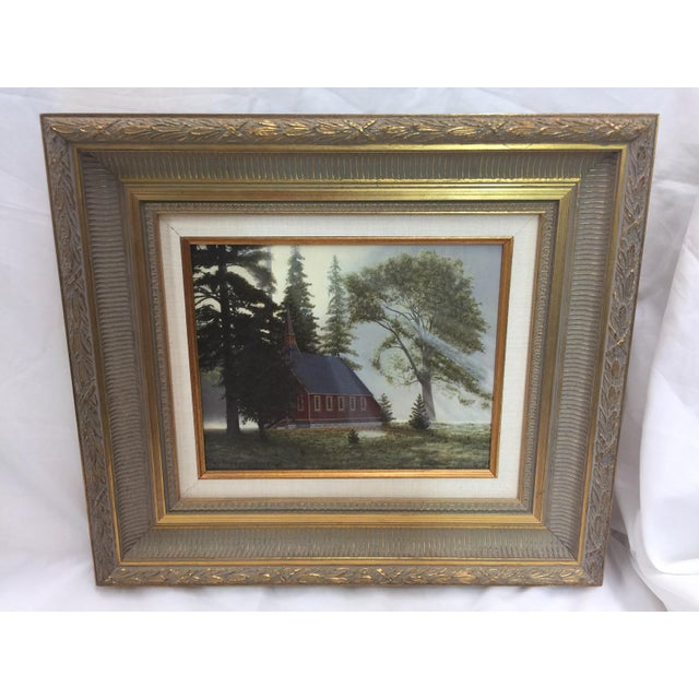 Lights Fetherolf Oil Painting Little Red Church Yosemite For Sale - Image 7 of 7