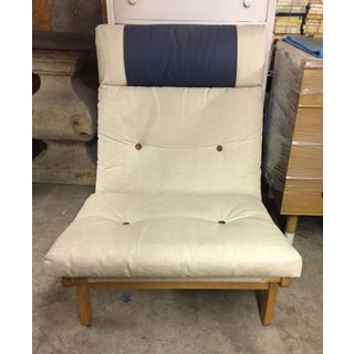Mid-Century Modern Wood Frame & Canvas Lounge Chair Preview