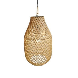Raw Rattan Bottle Lantern Small For Sale