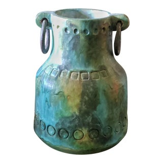 Alvino Bagni 'Sea Garden' Vase With Iron Rings For Sale