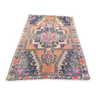 1960s Vintage Turkish Floral Pattern Rug - 4′4″ × 6′8″ For Sale