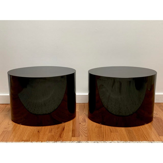 1980s Black Laminate Oval Drum Tables-A Pair For Sale - Image 11 of 11